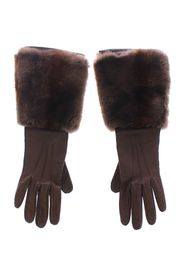 Rabbit Fur Lambskin Leather Gloves