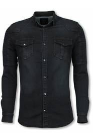 Biker Denim Shirt - Slim Fit Belt Schoulder