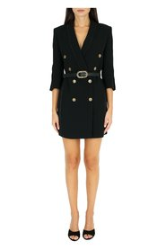 Dress with lapels and belt