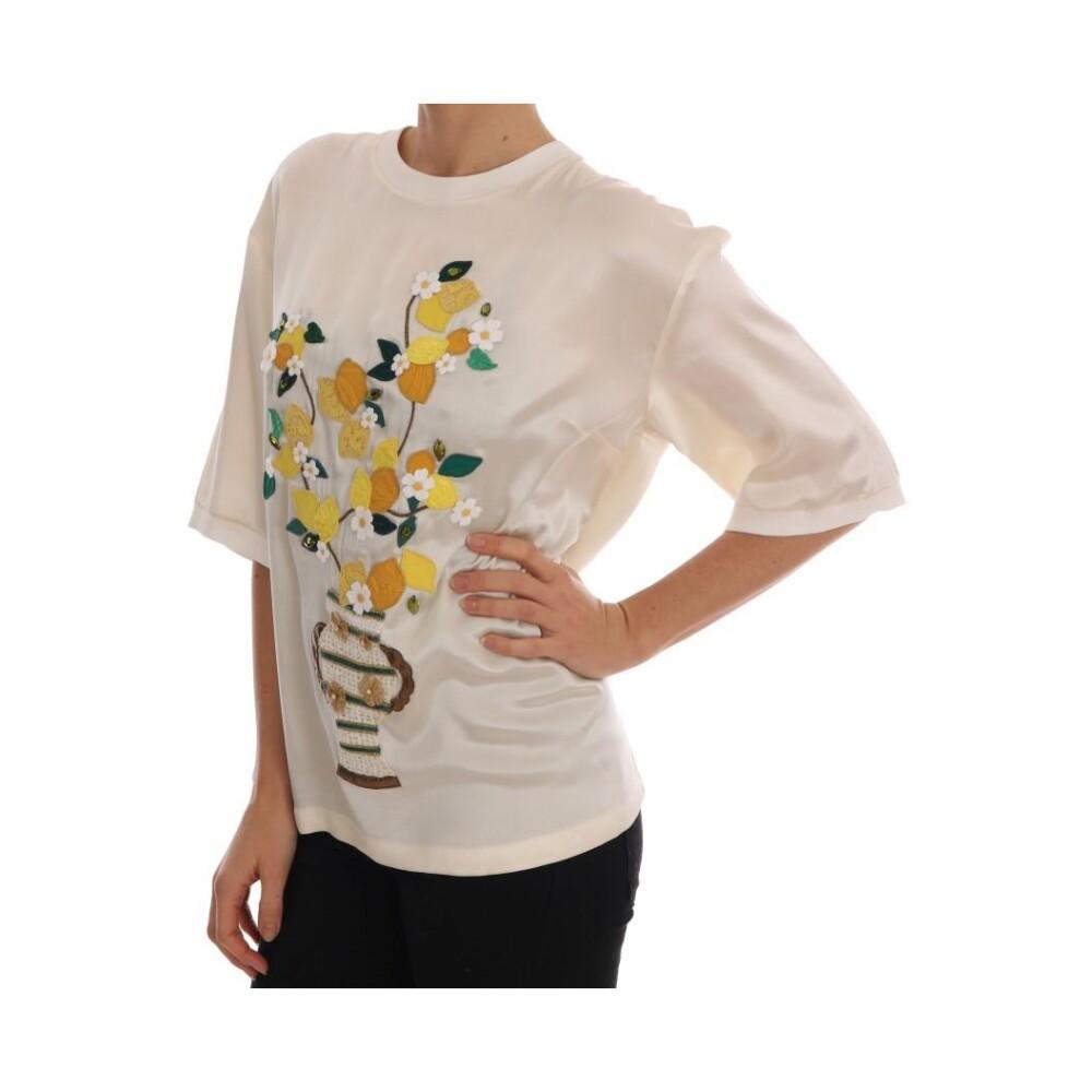 White Silk Lemon Vase Crystal Blouse | Dolce & Gabbana | T-shirty - Najnowsza zniżka 2h0Xn