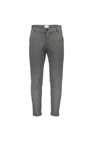 Lindbergh White Knitted Cropped Pants Grey Mix