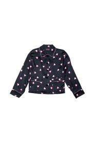 Chemisier et pantalon en soie avec coeurs roses