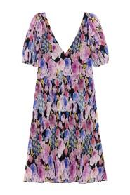 Pleated Georgette V-Neck Midi Dress