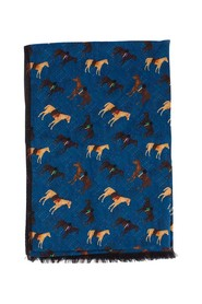 Horse patterned wool scarf