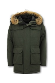 Winter Jacket Parka with Large Real Fur Collar