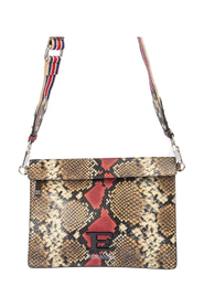 Snake print leather cross body bag