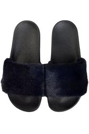 MINK FUR SLIPPERS NAVY