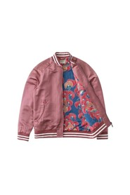 Pink organic cotton and silk bomber jacket