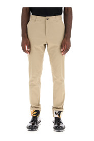 chino trousers with acanthus print