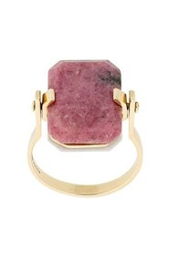 9kt yellow gold ring with white agate and pink rodonite octagonal cut