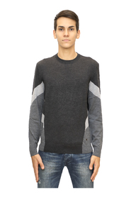 Inlaid color block virgin wool sweater