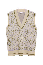 Floral-print knitted gilet