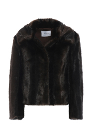 Faux fur jacket with pointy collar