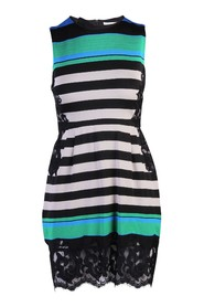 Stripes Dress With Lace Details