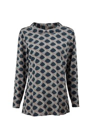 Patterned Blouse With Boat Neck Collar