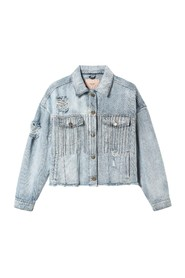 CROPPED JACKET MET EMBELLISHED FRANJES