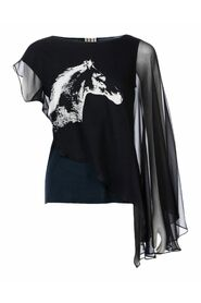 Horse Print Asymmetrical Top