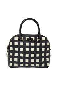 Checkered Coated Canvas and Leather Satchel