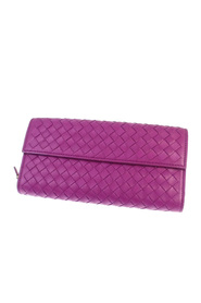 Intrecciato Leather Long Wallet