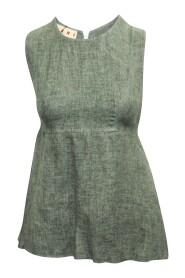 Linen Sleeveless Top with Raw Hem