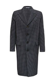 Single Breasted  Houndstooth Long Coat