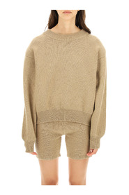crewneck sweater with padded shoulders
