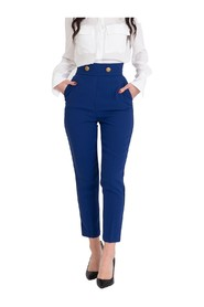 High-waisted Capri pants with buttons