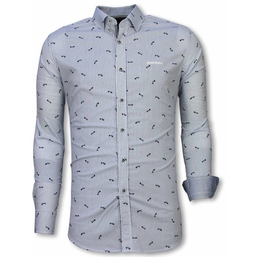 Slim Fit Shirt Fishbone Pattern