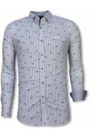 Slim Fit Shirt Fishbone Pattern