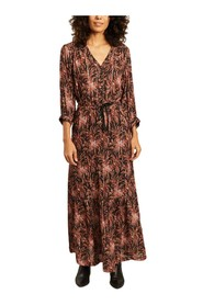 Renée flower print with lurex long dress