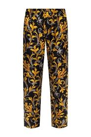 Barocco-printed silk trousers