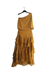 NEHIR Long Safran Yellow One-Shoulder Dress
