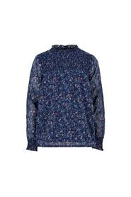 Creamie - Blouse Small Flower Chiffon (820833) - Navy Night