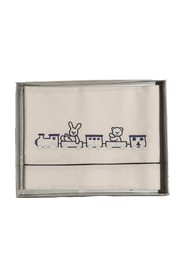 COTTON SHEET WITH EMBROIDERED TRAIN
