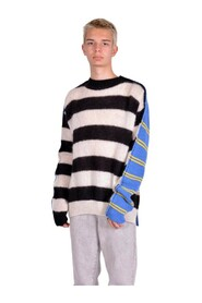 STRIPED WOOL AND MOHAIR BLEND SWEATER WITH RAW EDGES
