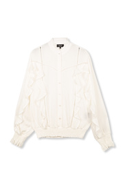 Woven blouse whit tapes and ruffles