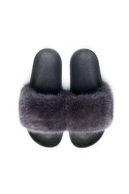 MINK FUR SLIPPERS CHARCOAL
