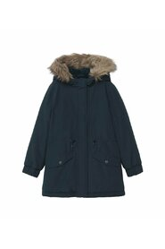 Faux fur hooded coat removable