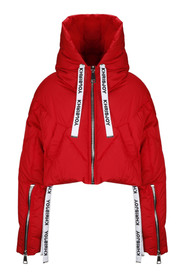 Crop down jacket with hood