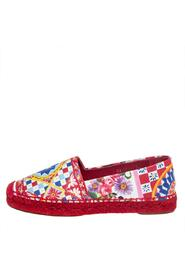 Floral Printed Leather Espadrille Flats