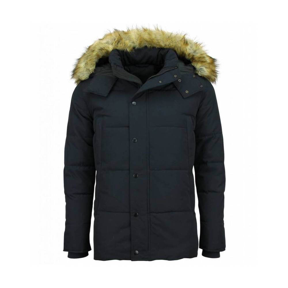 Winterjacket Men - Winterjacket Men - Fake Fur Coat - Coat med Fur Collar - Blå