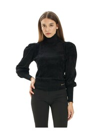 Chenille turtleneck sweater with wide sleeves