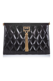 Quilted Leather Gem Clutch