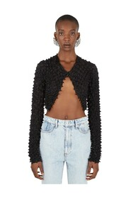 Cropped Snap-Front Cardigan
