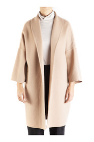 Woman coat without buttons, 3/4 sleeve, shawl collar.