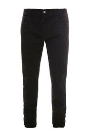Black slim-fit stretch jeans with repaired rips