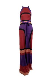Block Knit Silk Halterneck Maxi Dress