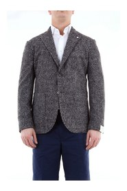L.B.M 286595191 Blazer Men Blue gray and brown