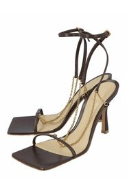 Stretch leather sandals in ebony