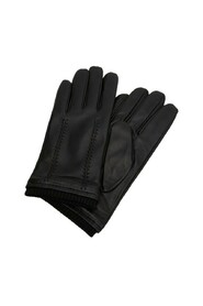 Leather wool-blend gloves